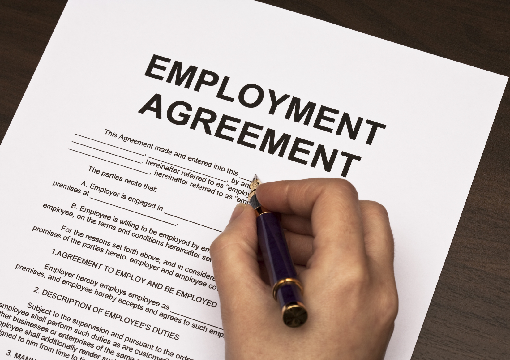 Basic Knowledge Concerning An Employment Contract Form  Free Employment Contract Form